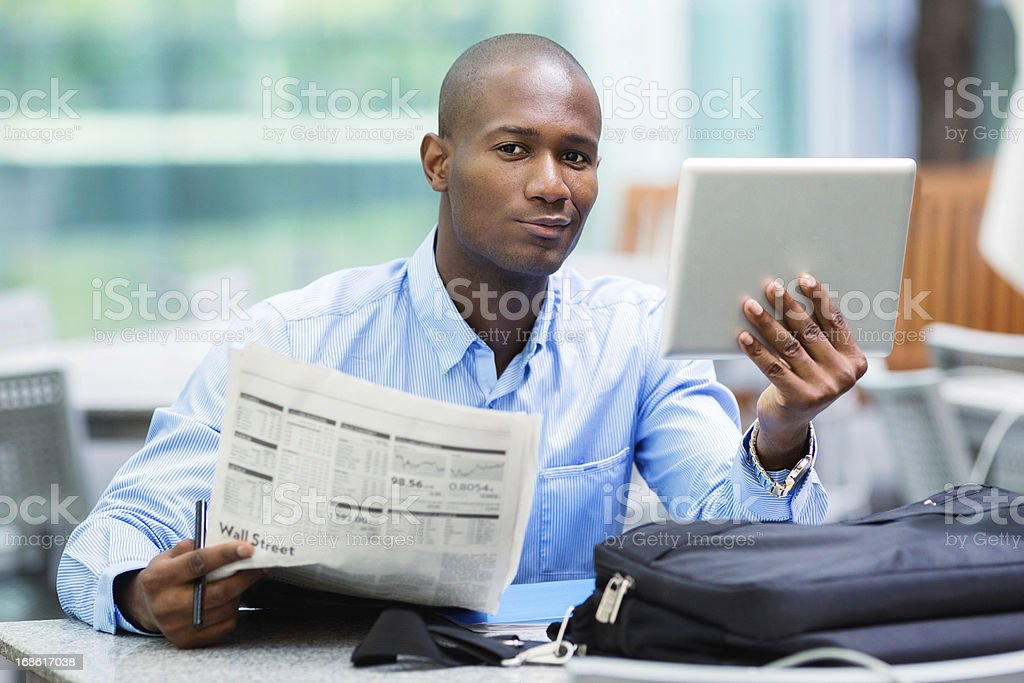 Stock market analyst outdoors portrait with tablet royalty-free stock photo