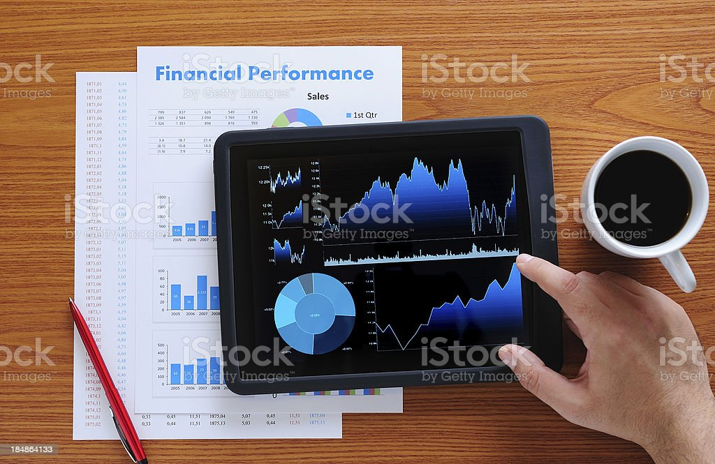 Stock Market analyze with tablet PC royalty-free stock photo