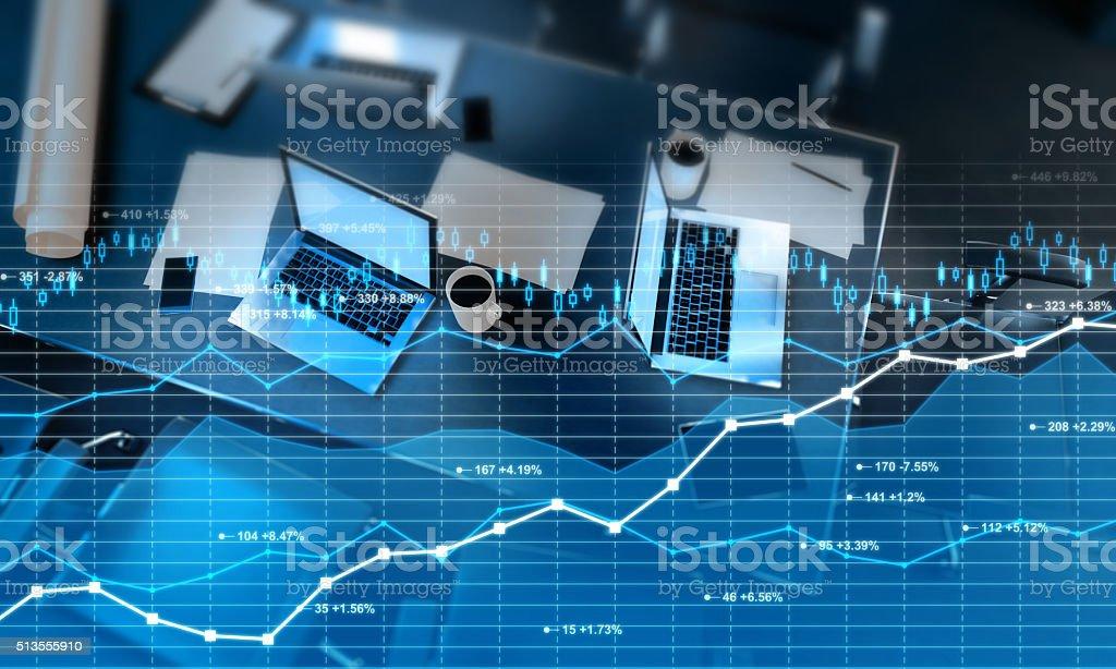 Stock market and finance data overlay on office interior stock photo