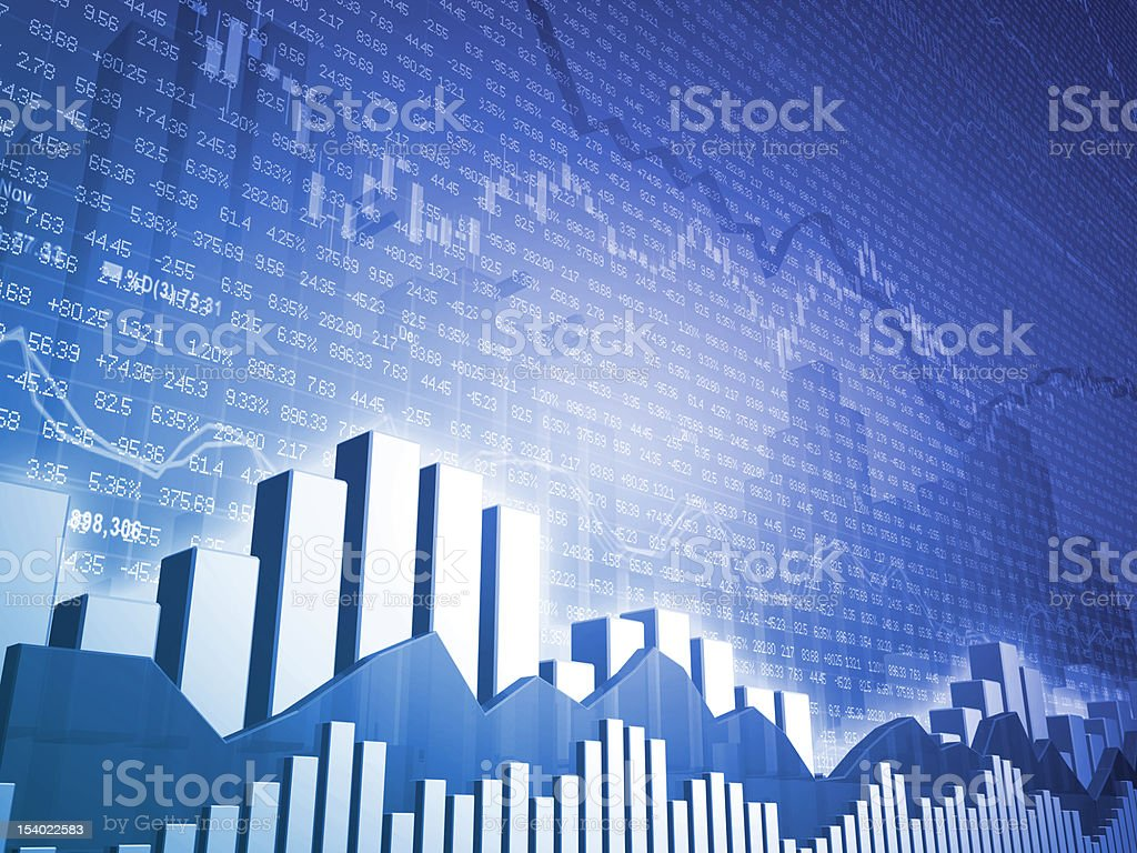 Stock Market Bars with Financial Data stock photo
