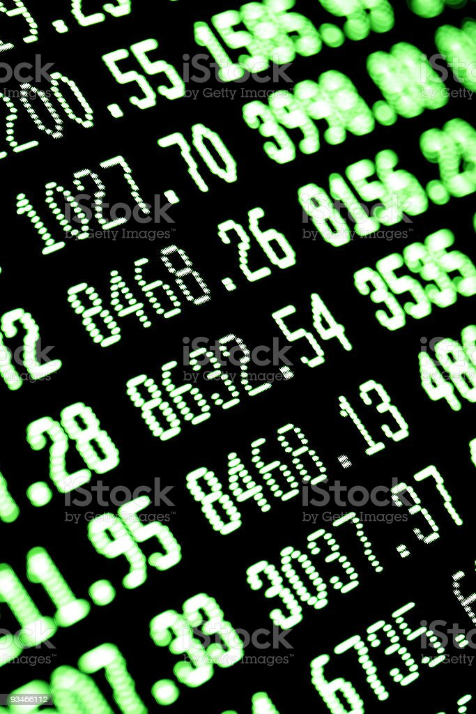 stock market bull recovery - buying: green financial trading screen royalty-free stock photo