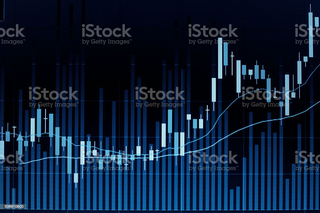 Stock market candle graph analysis on screen. stock photo