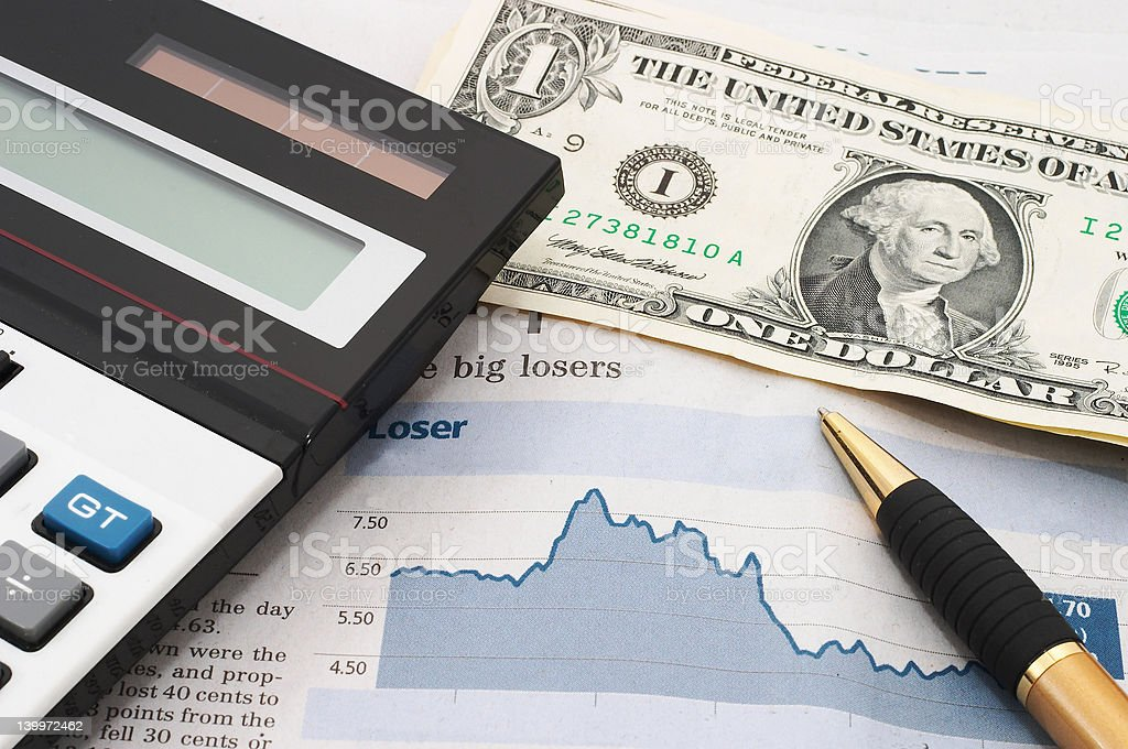 Stock market chart, down, losses royalty-free stock photo