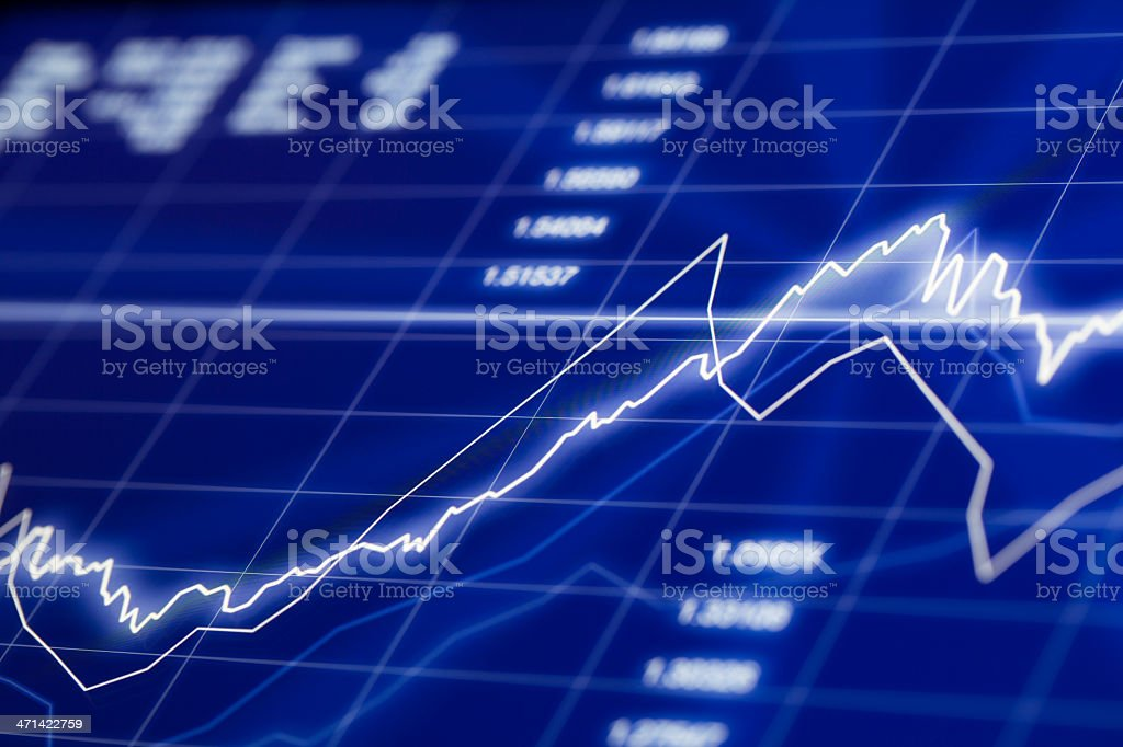 Stock market chart screen with graph going up stock photo