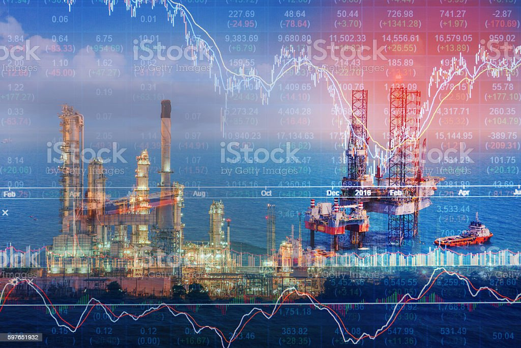 Stock market concept with oil rig in the gulf stock photo