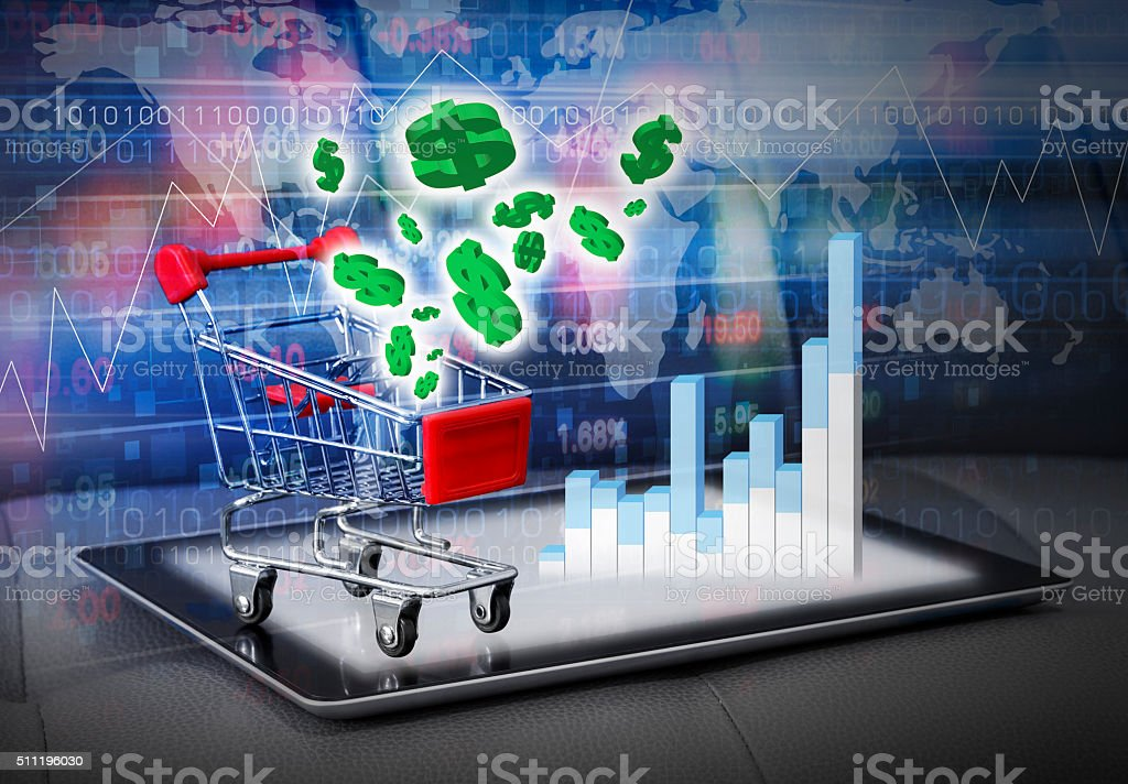 Stock market concepts of digital tablet stock photo