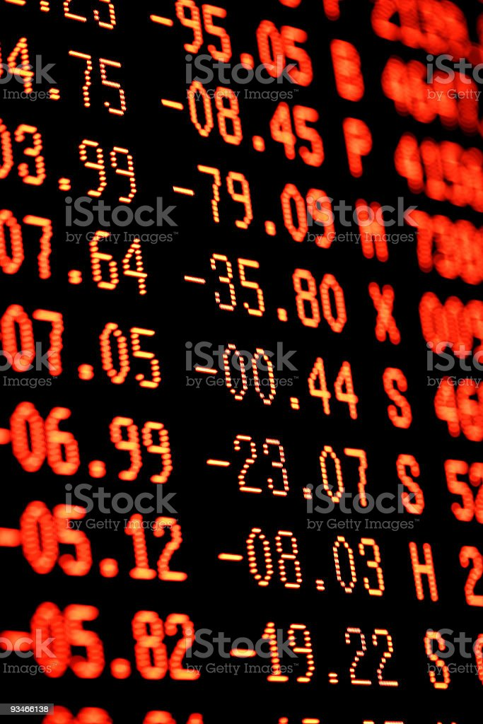 Stock Market Crash  Heavy Selling - Red Financial Trading Screen royalty-free stock photo