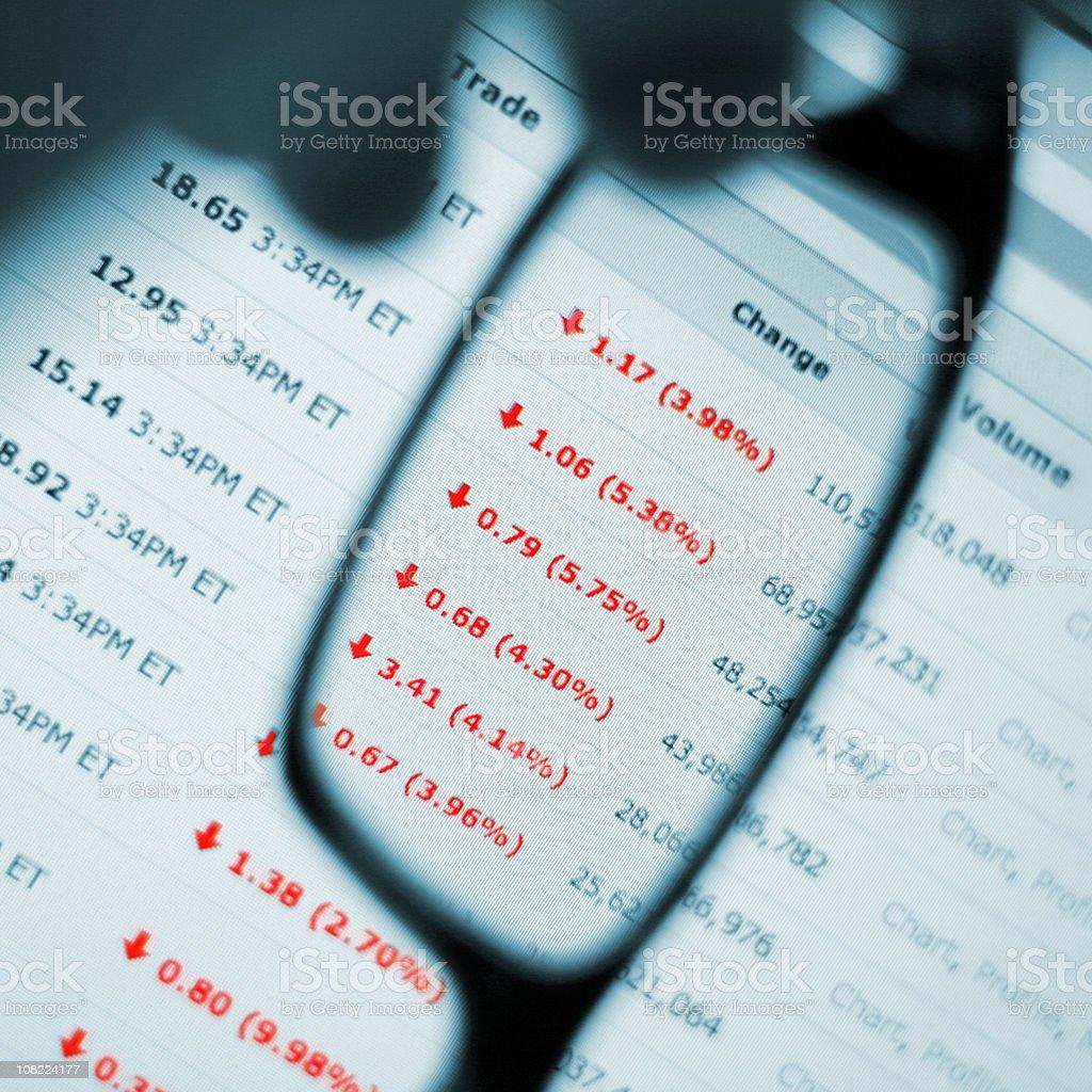 Stock Market Crash - Man Watching Prices Fall stock photo
