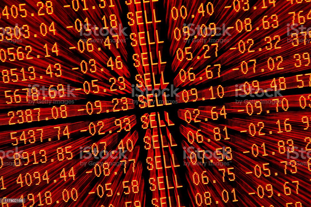 stock market crash sell—off - red trading screen zoom stock photo