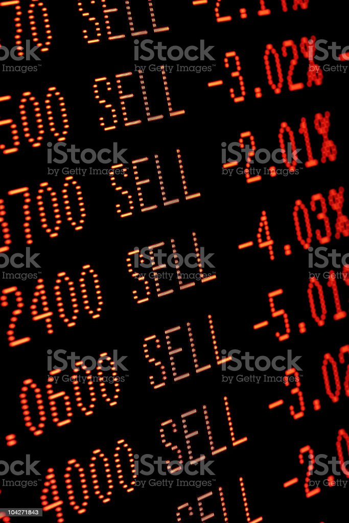 stock market crash sell-off - trading screen in red royalty-free stock photo