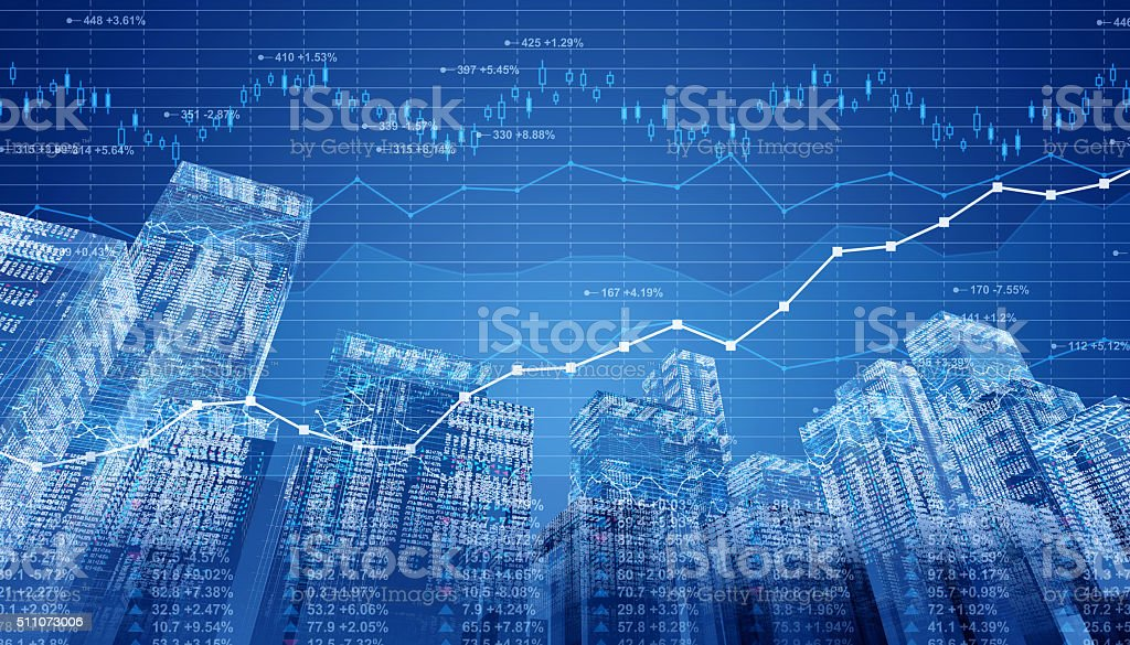Stock market data and finance charts on digital cityscape stock photo