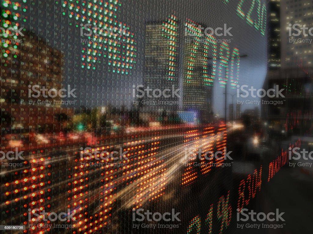 Stock market data chart display ticker board concept stock photo