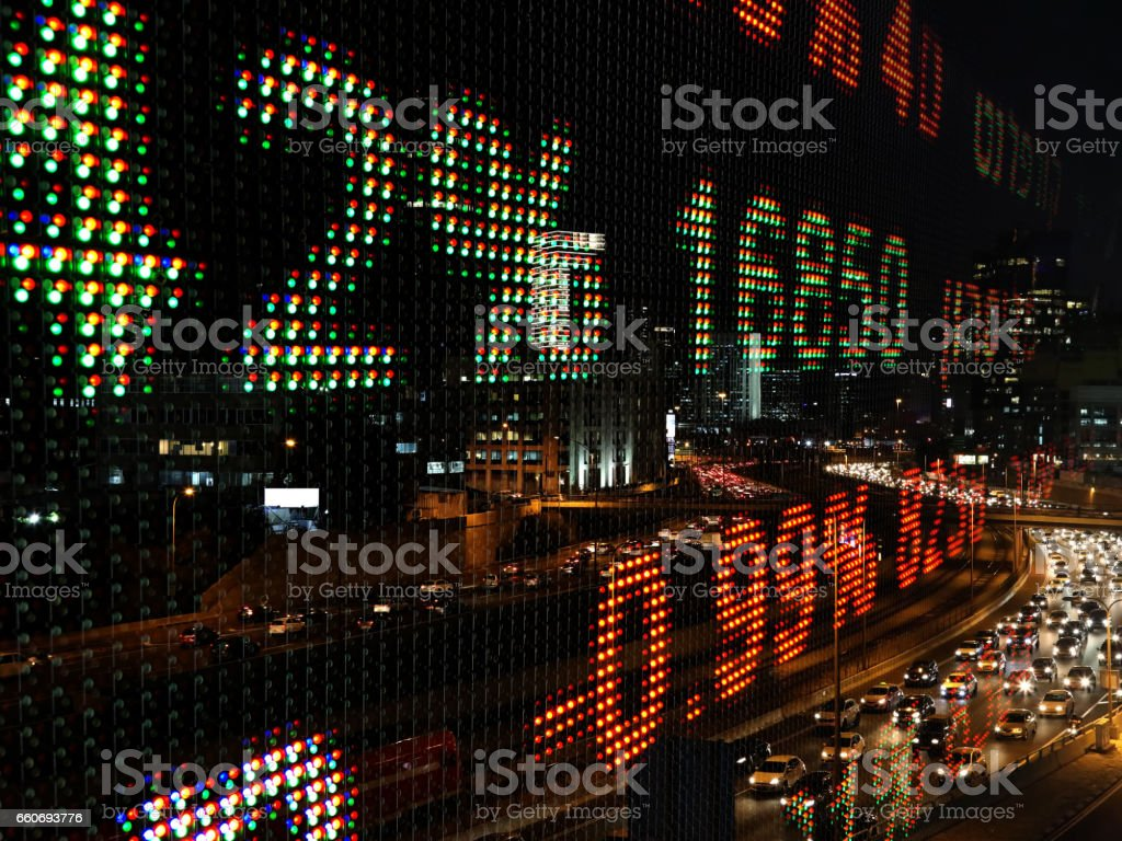 Stock market data chart display ticker board stock photo