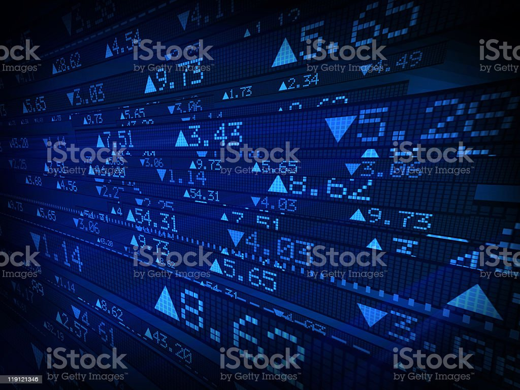 Stock market data displayed on blue ticker board stock photo