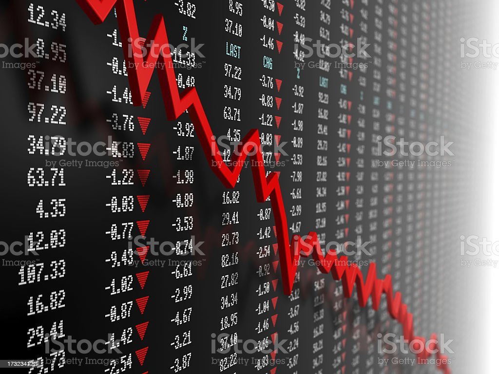 Stock market data with downtrend vector royalty-free stock photo