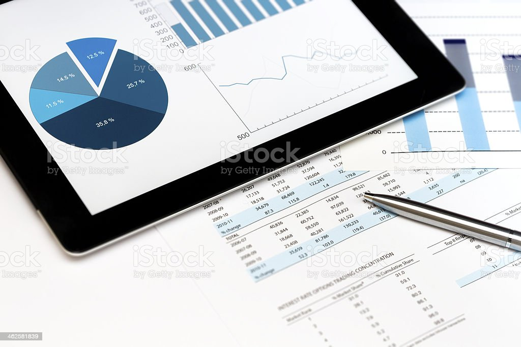 Stock Market Finance Account Report Tablet PC Touch Chart Value stock photo