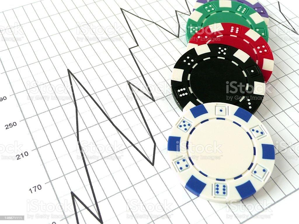 Poker chips spilled over a stock market chart on white.