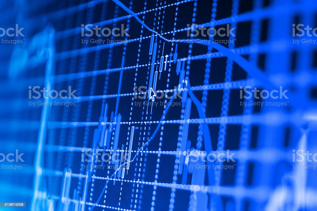 Stock market graph and bar chart price display stock photo