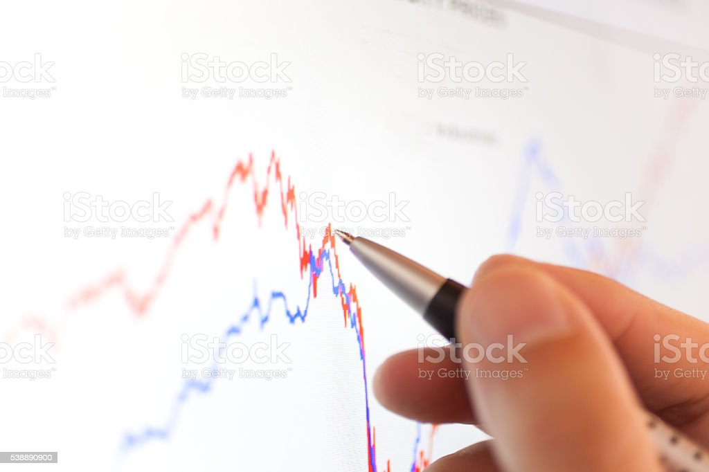 Stock market graph on a computer screen stock photo
