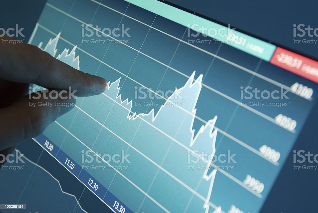 Stock market graph on monitor stock photo