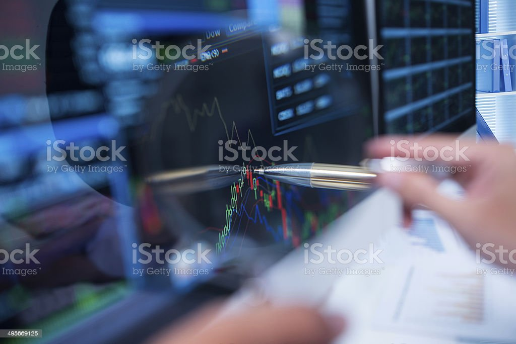 Stock market graph stock photo