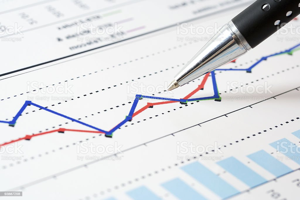 Stock market graphs with a bar graph and a line graph stock photo