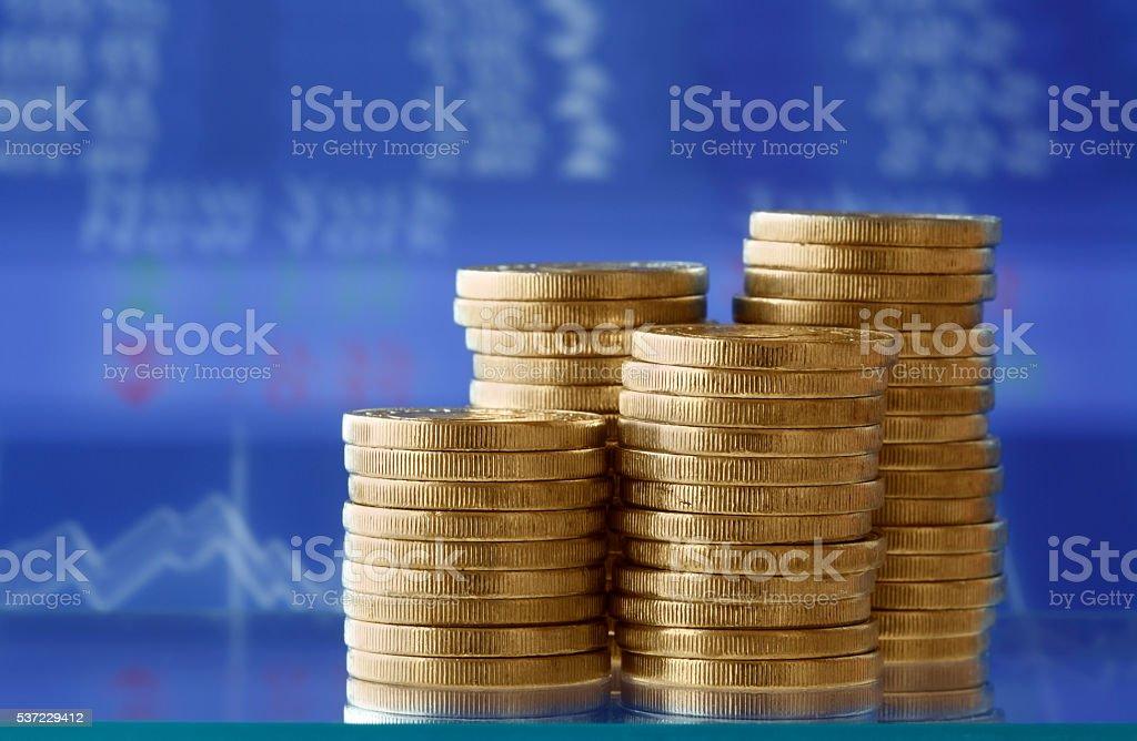 Stock Market Graphs with Money stock photo