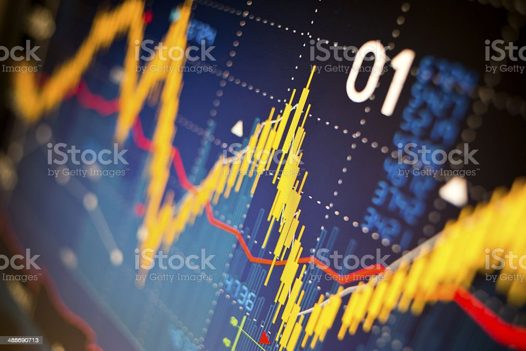 Stock market index graphs stock photo