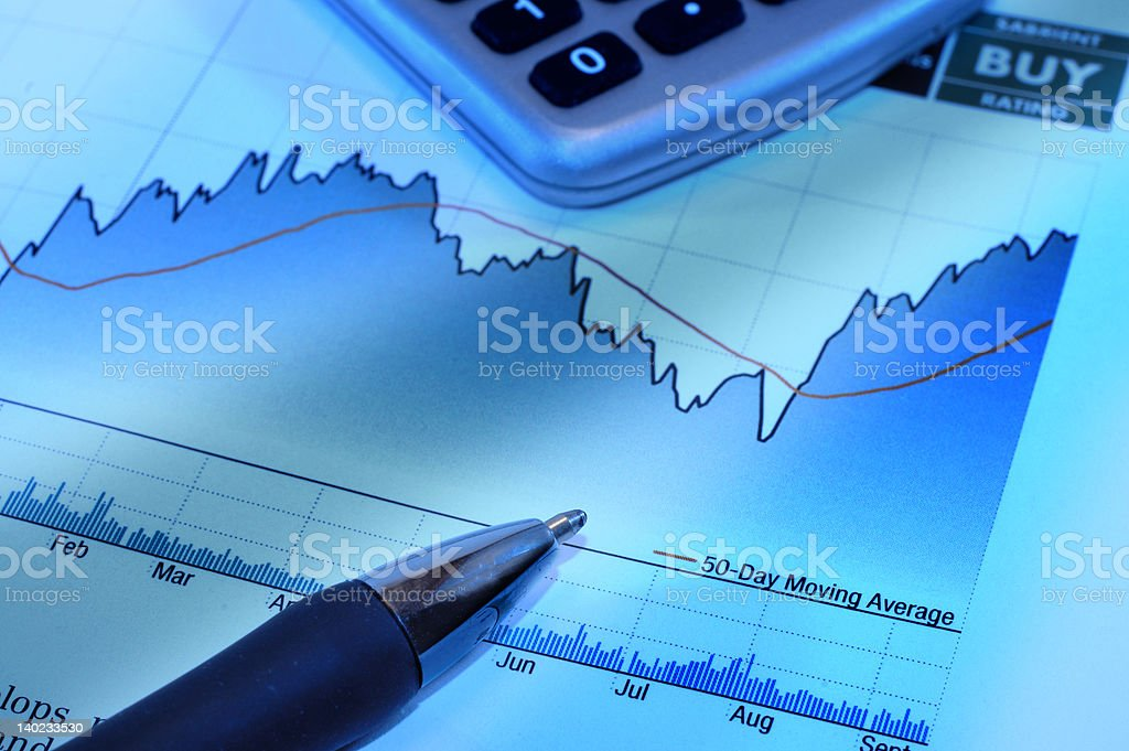 stock market investment charts pen calculator royalty-free stock photo