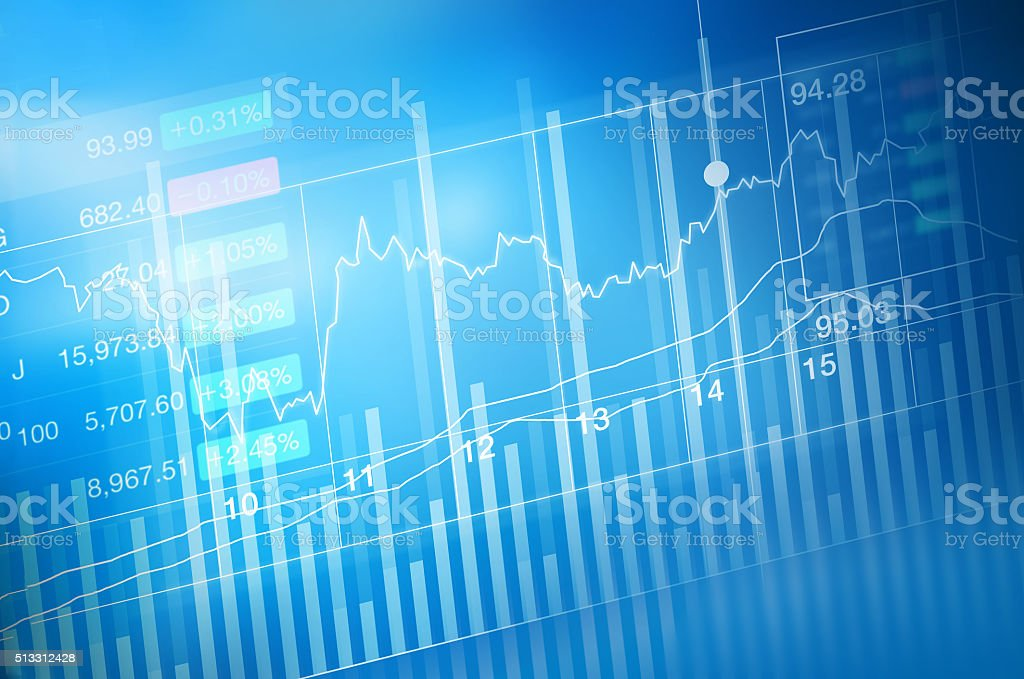 stock market investment trading, candle stick graph chart stock photo