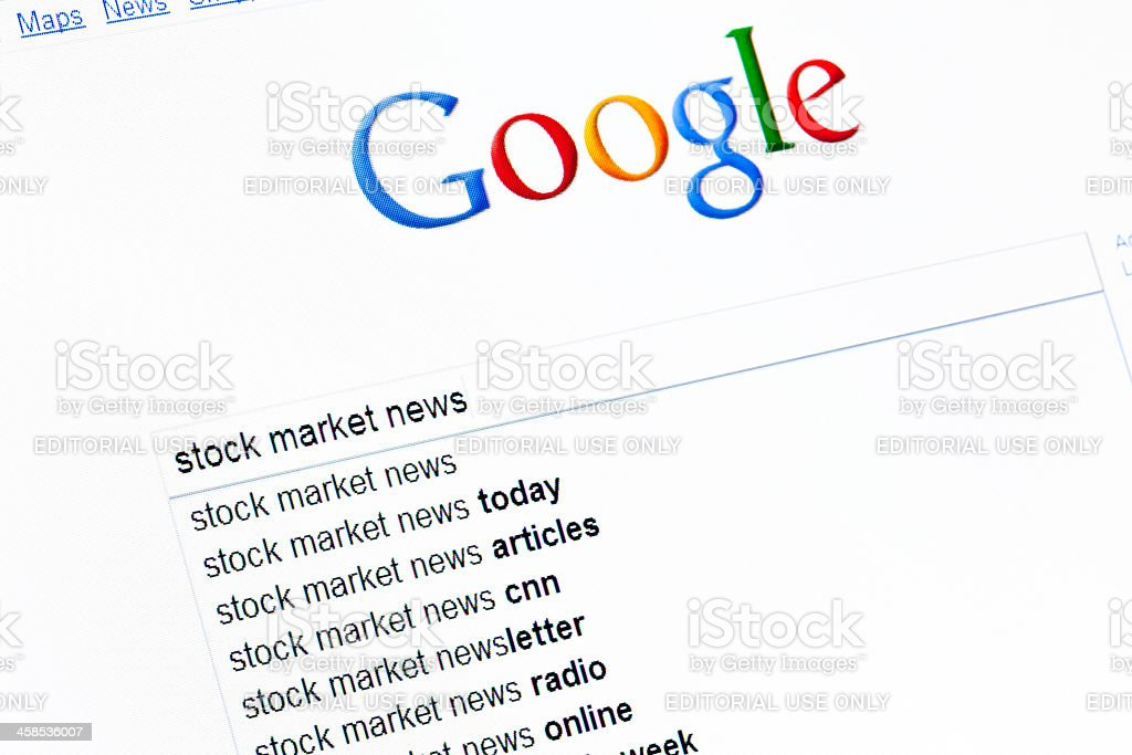 Stock market news search string royalty-free stock photo