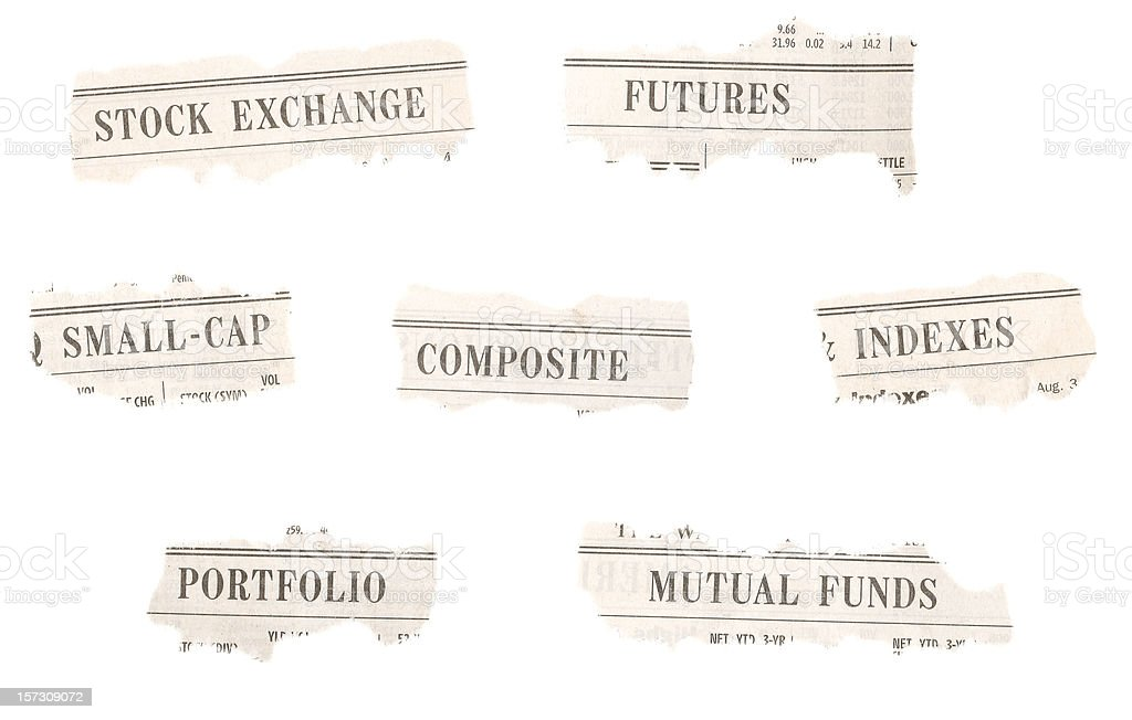 Stock Market Newspaper Headlines stock photo