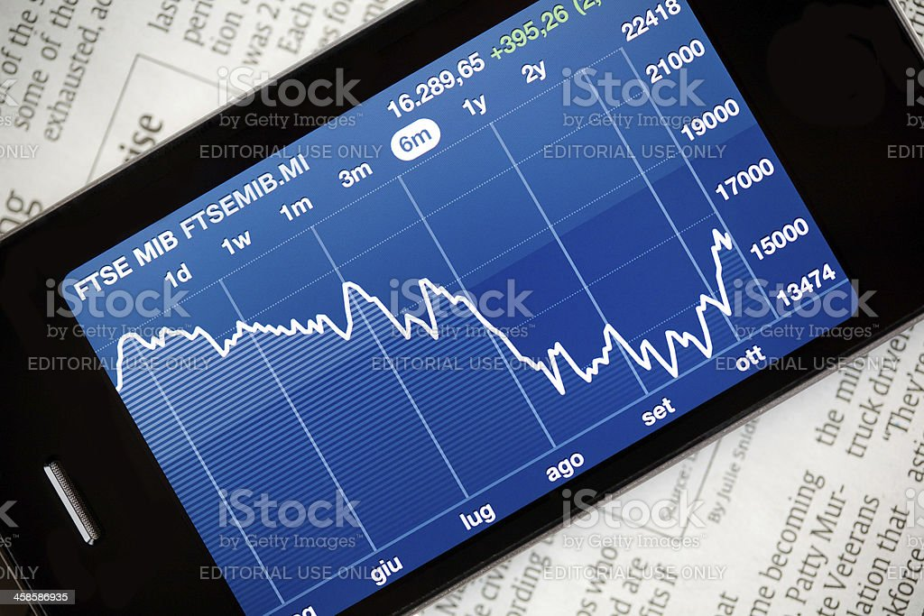 Stock Market on a Smartphone royalty-free stock photo