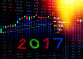 Stock market on display in 2017,Business crisis concept.