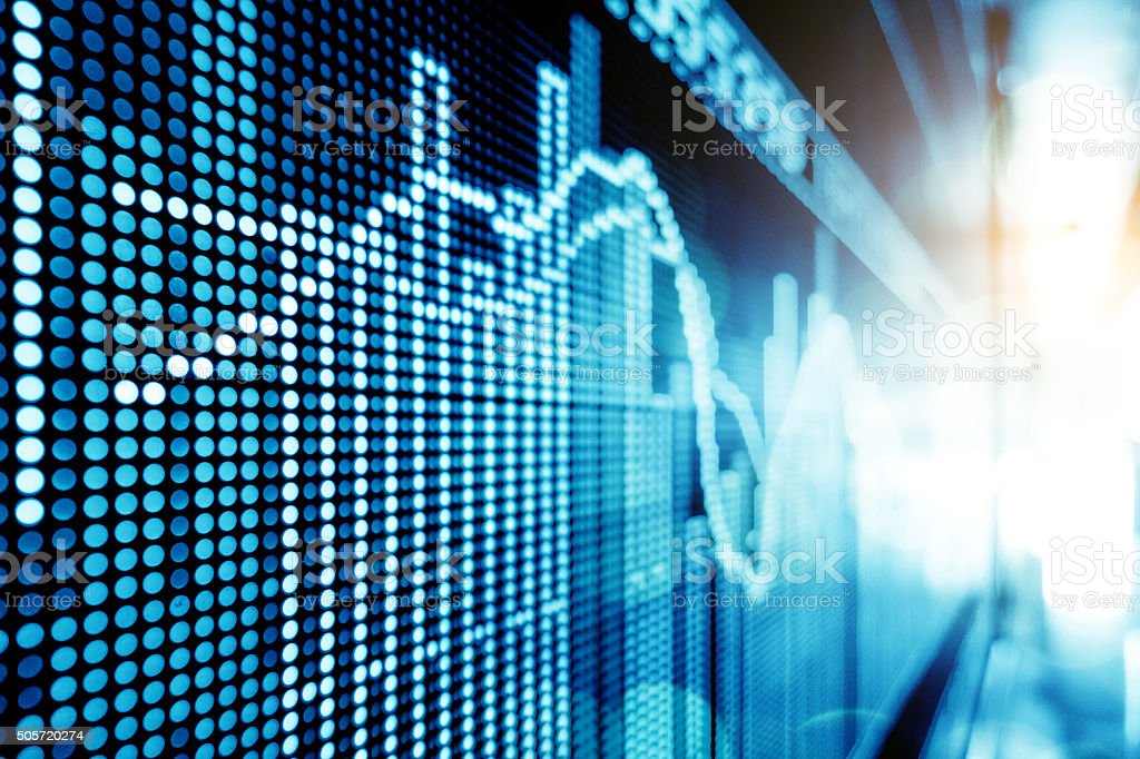 Stock market price display stock photo