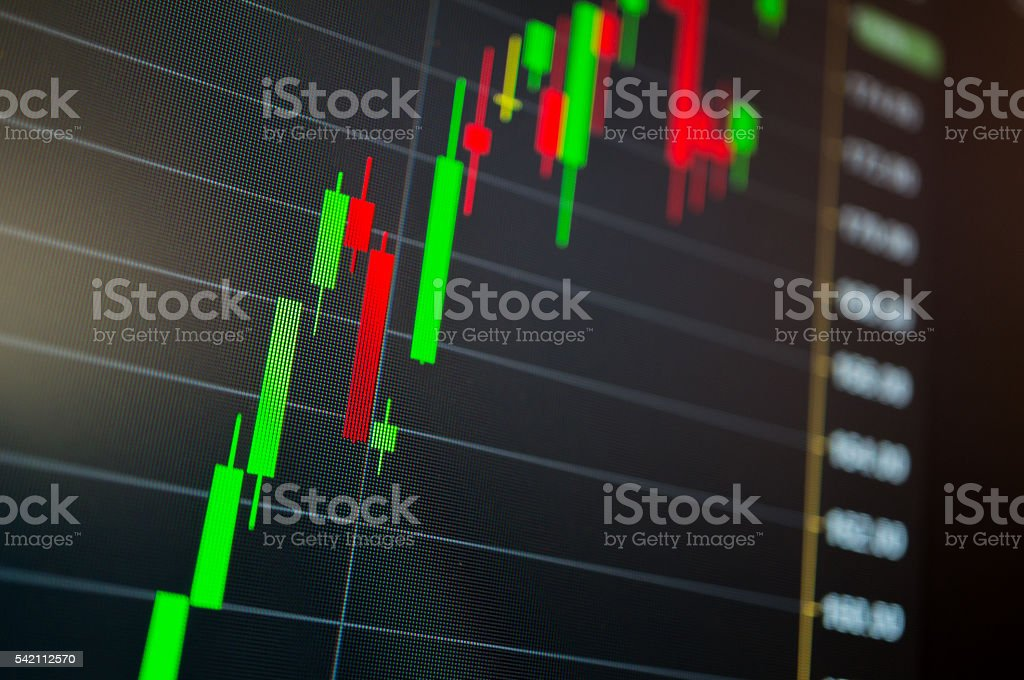 Stock market price show in candle stick chart stock photo