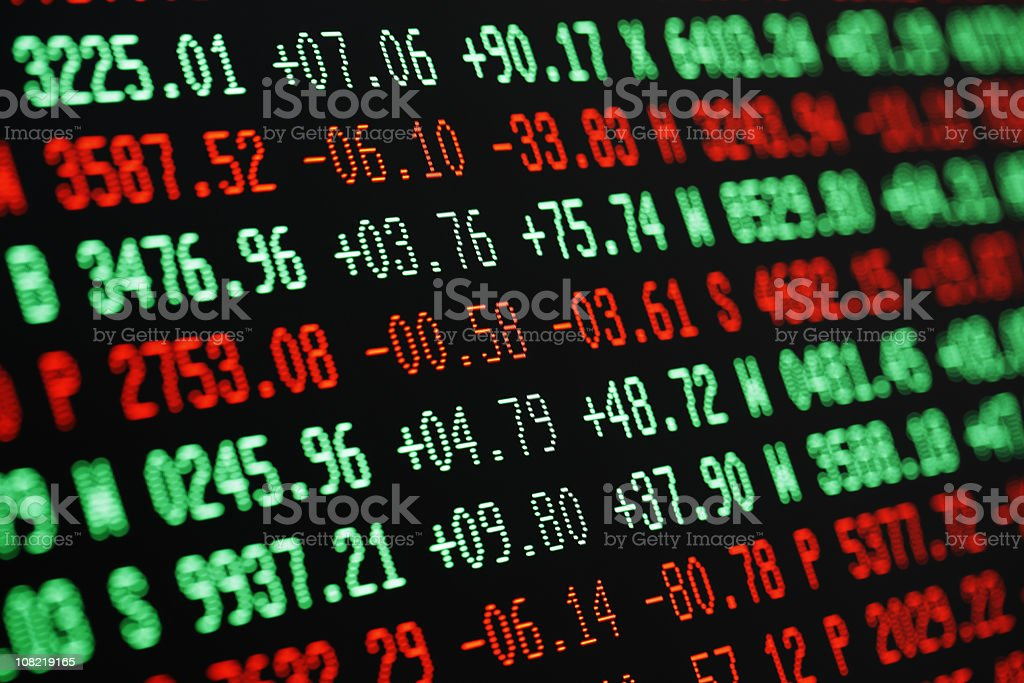 stock market screen numbers - finance + currency data stock photo