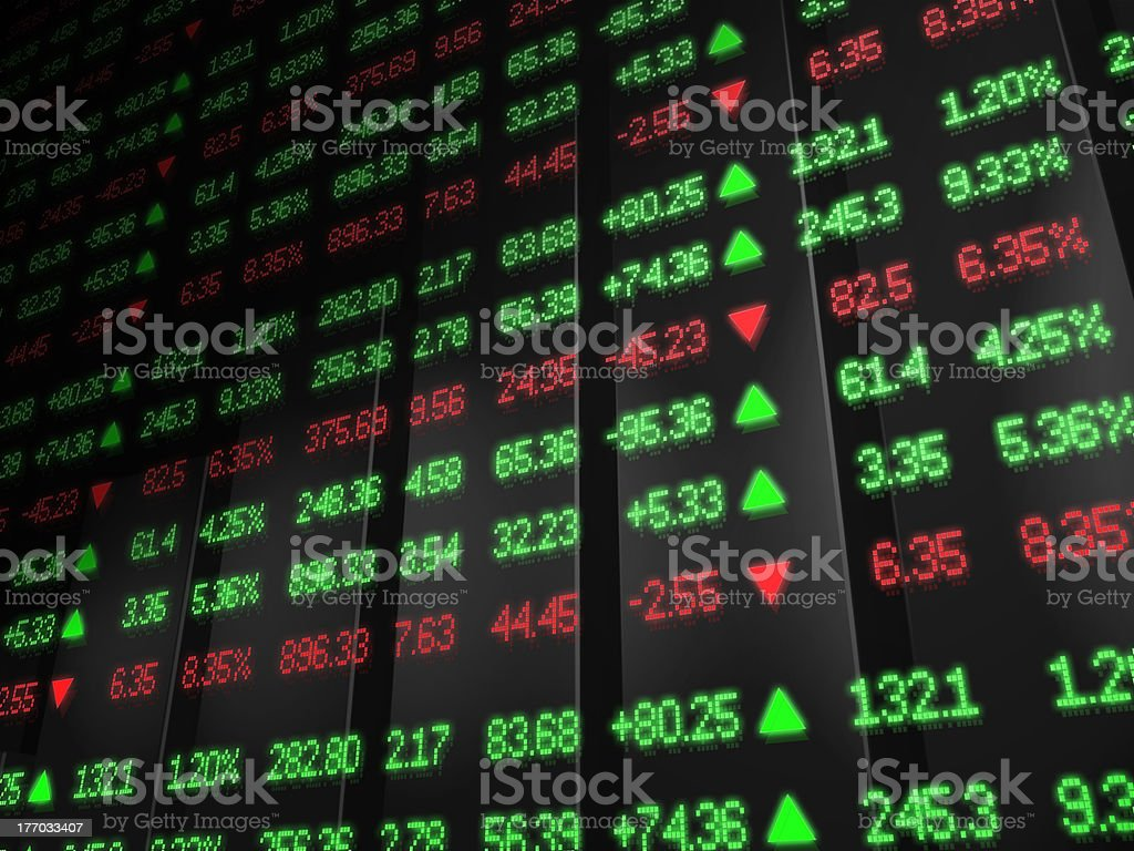 Stock Market Ticker in red and green stock photo