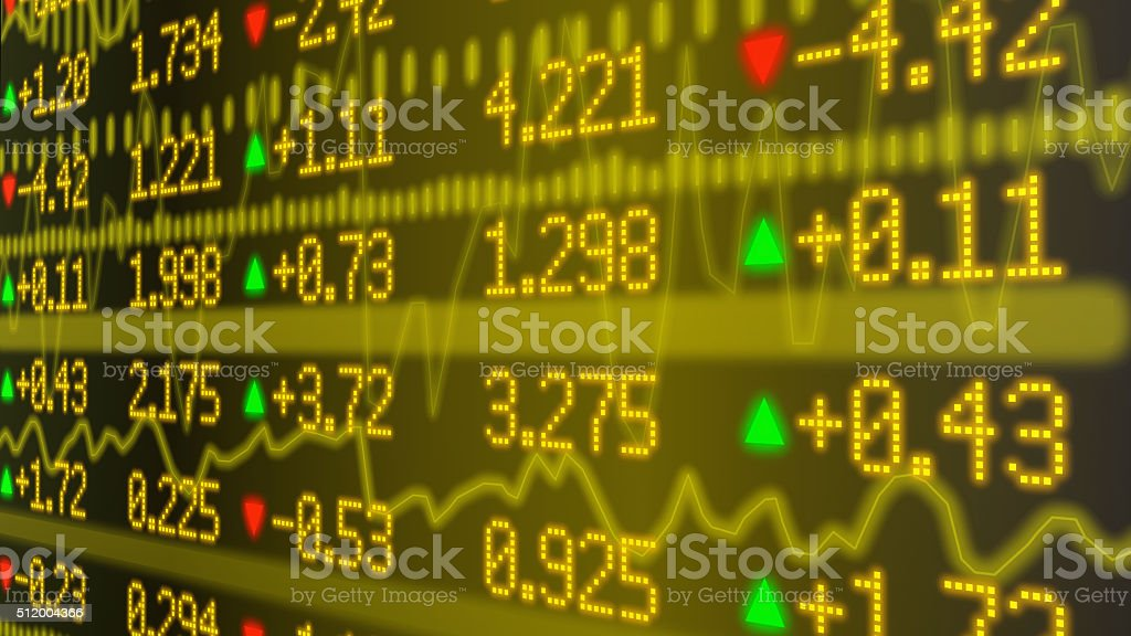 Stock market ticker wall in yellow stock photo