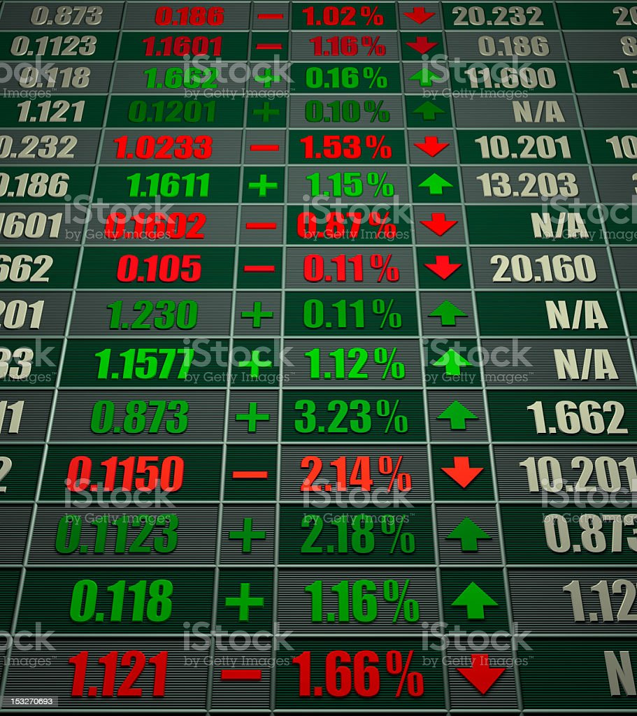 A stock market trading board ticker royalty-free stock photo