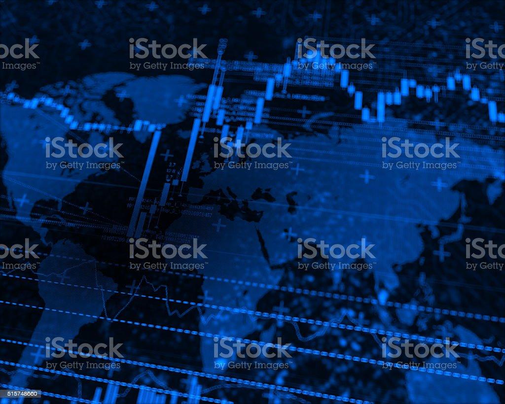 Stock Market world map stock photo