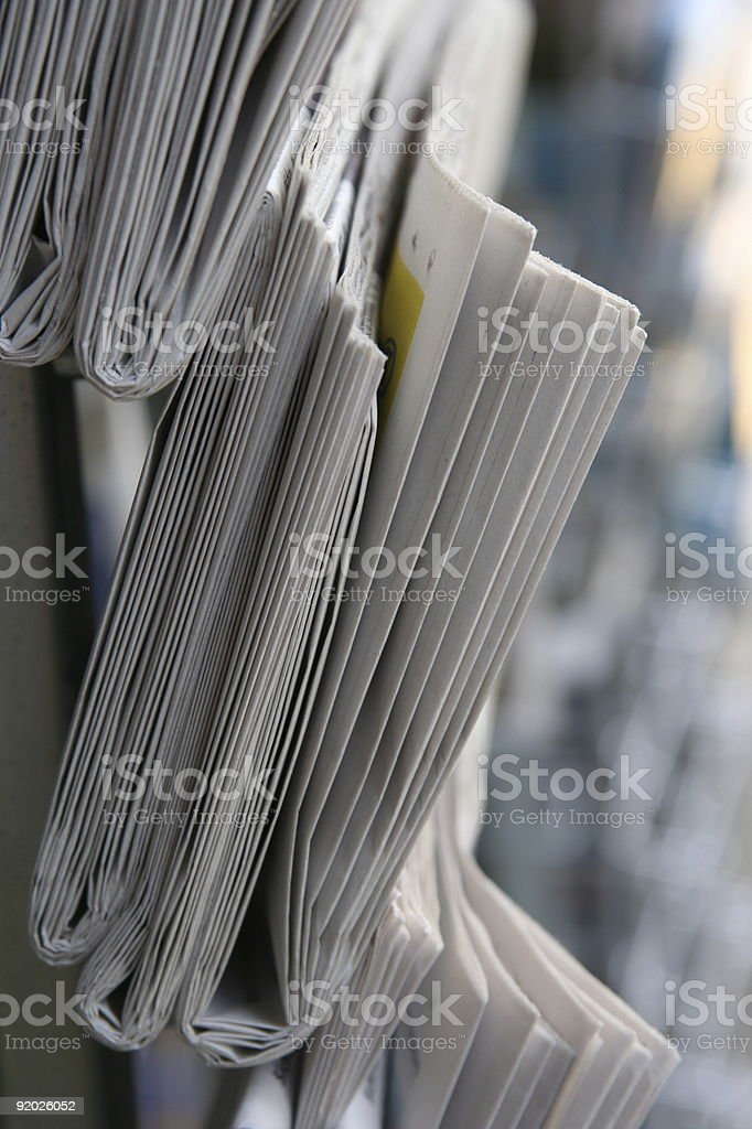 Stock of newspaper close up royalty-free stock photo