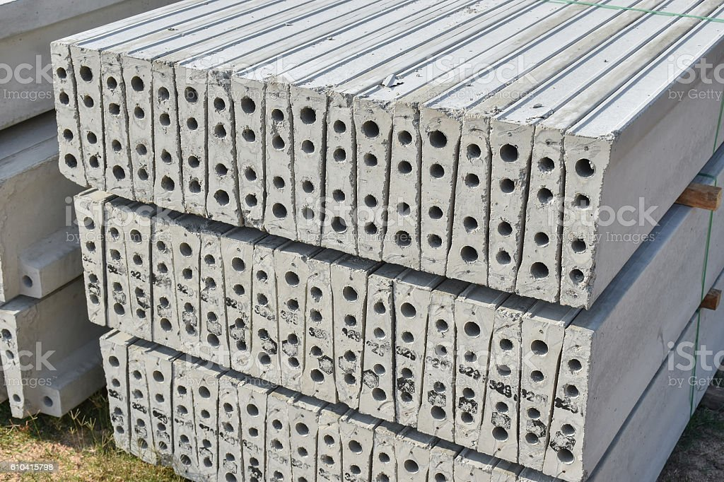 Stock of plank concrete precast at construction site stock photo