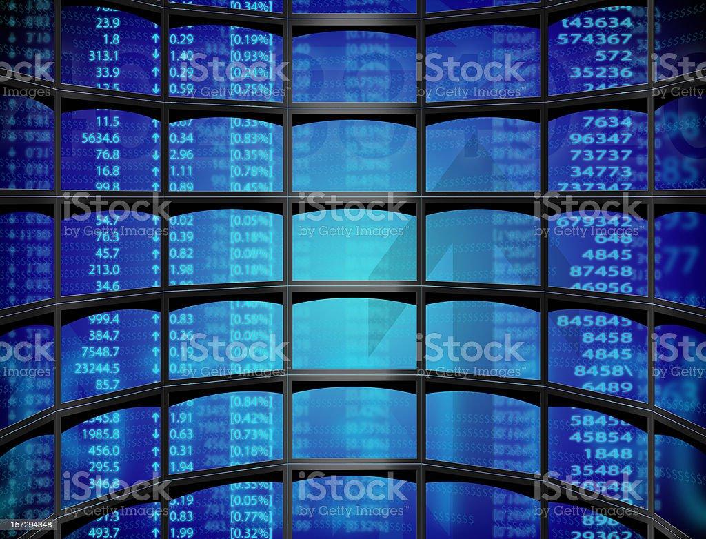 Stock on multiple screens stock photo