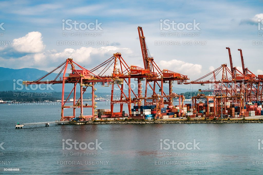 Stock Photo Industrial Loading Cranes,  Port of Vancouver, Canada stock photo