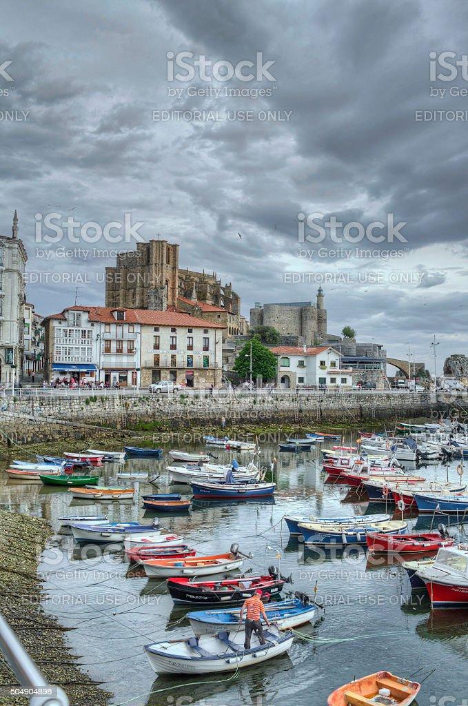 Stock Photo of Castro Urdiales Harbor in Northern Spain stock photo