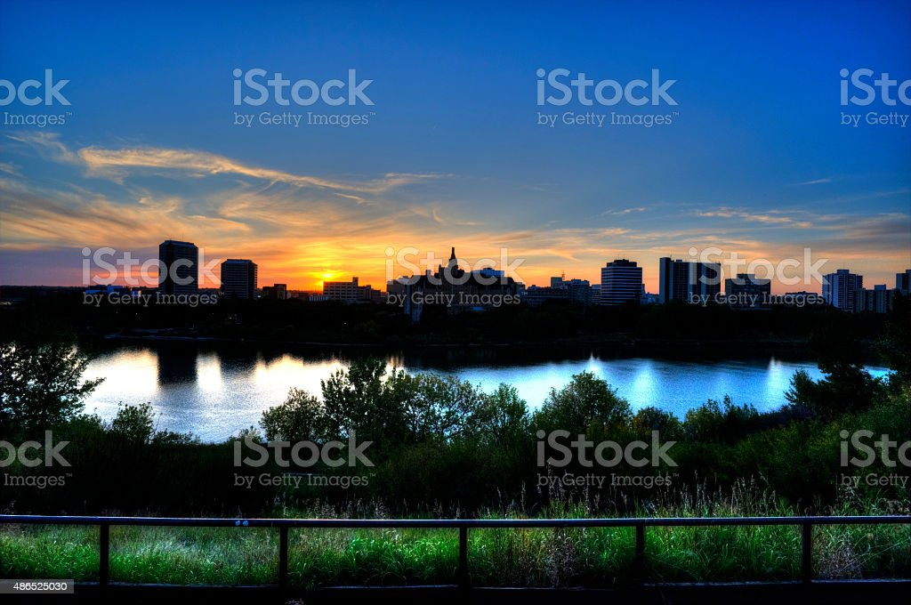 Stock Photo of Downtown Saskatoon Skyline at Dusk stock photo