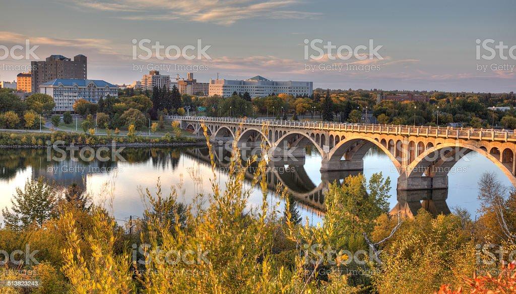 Stock Photo of Saskatoon and River at Dusk stock photo