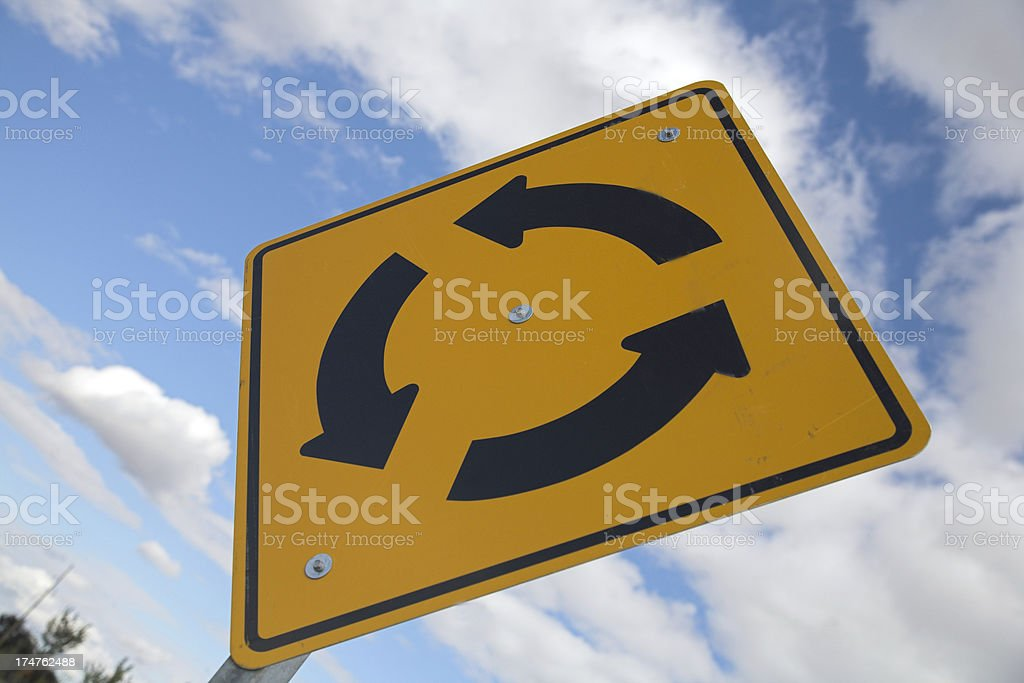 Stock Photo of Traffic Circle Road Sign royalty-free stock photo