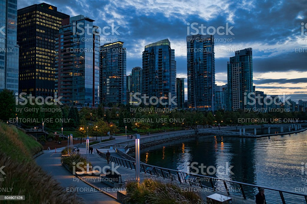 Stock Photo of Walking Path in Downtown Vancouver at Dusk stock photo